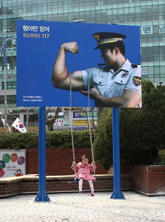 طراحی خلاقانه بیلبورد پلیس کره